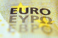 Detalle euro del billete de banco Fotografía de archivo