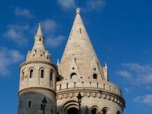 Detalle exterior de la torrecilla de piedra del bastión en Budapest, Hungría fotografía de archivo libre de regalías