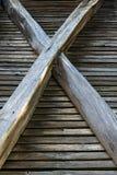 Detalle exterior de una estructura de madera del granero fotos de archivo