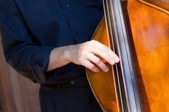 Músico que juega el doble-bajo foto de archivo