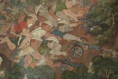 Detalle la pintura antigua en la pared en el templo de Wat Suthat Imagen de archivo libre de regalías