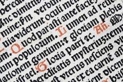 Detalle latino del texto Fotos de archivo libres de regalías