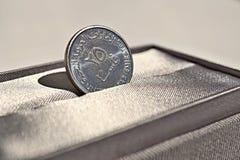 Detalle macro de una moneda de plata del dirham y de x28; Dirham de United Arab Emirates, AED& x29; Imágenes de archivo libres de regalías