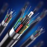 Detalle macro del cable óptico de la fibra ilustración del vector