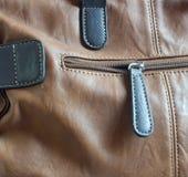 Detalle marrón de cuero del bolso Imagen de archivo