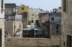 Detalle medieval del exterior de las calles de la ciudad vieja foto de archivo