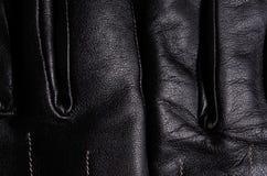 Detalle negro de los guantes de cuero II Foto de archivo libre de regalías