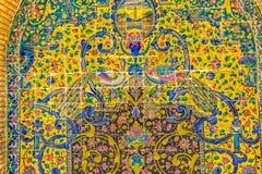 Detalle pintado palacio de los pavos reales de Golestan Imágenes de archivo libres de regalías