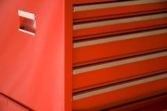 Detalle rojo de la caja de herramientas Imágenes de archivo libres de regalías