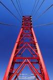 Detalle rojo de la construcción de puente Imágenes de archivo libres de regalías