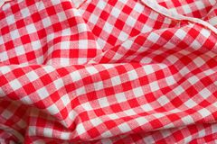 Detalle rojo del primer del paño de la comida campestre Imágenes de archivo libres de regalías