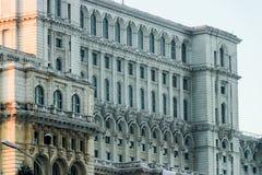 Detalle rumano del edificio del palacio del parlamento imágenes de archivo libres de regalías