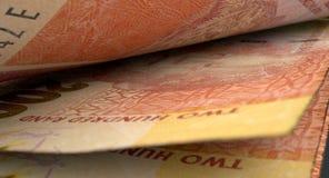 Detalle separado del primer de los billetes de banco Imagen de archivo