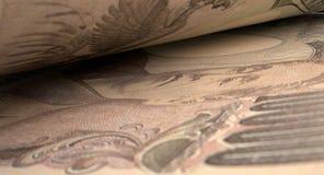 Detalle separado del primer de los billetes de banco Foto de archivo