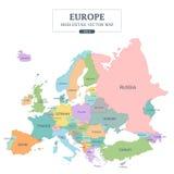 Detalle a todo color del mapa euro el alto separó todos los países libre illustration