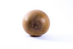Detalle W aislado primer del pelo de Brown Kiwi Whole Fruit Fresh Skin Foto de archivo