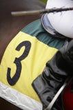 Detalle y jinete del caballo de raza listos para correr Imágenes de archivo libres de regalías
