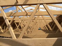 Detalles arquitectónicos de la perspectiva de madera de la granja Foto de archivo libre de regalías