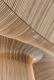 Detalles arquitectónicos del edificio de la asamblea Galés Tablones de madera Foto de archivo