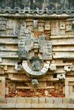 Detalles arquitectónicos del templo maya en Uxmal, México Foto de archivo libre de regalías
