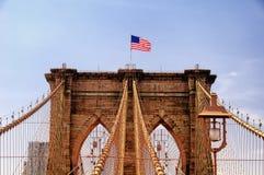 Detalles arquitectónicos NYC del puente de Brooklyn fotografía de archivo libre de regalías