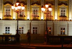 Detalles arquitectónicos por noche Foto de archivo