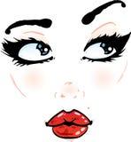 Detalles bonitos de la cara en un fondo blanco Foto de archivo libre de regalías