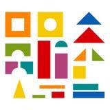 Detalles coloridos del juguete de los bloques para el edificio de la torre stock de ilustración