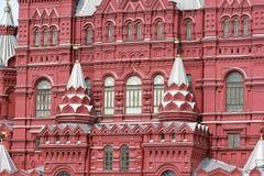 Detalles de la arquitectura del museo histórico de Moscú Fotos de archivo