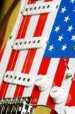 Detalles 2 de la bandera americana de la guitarra eléctrica Imagen de archivo libre de regalías