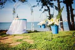 Detalles de la boda de playa Fotografía de archivo