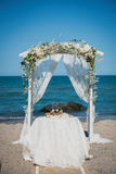 Detalles de la boda de playa Fotografía de archivo libre de regalías
