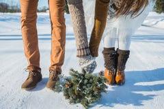 Detalles de la boda, zapatos de la boda elegante, ramo de la boda ramo del pino-árbol ZAPATOS MARRONES Cierre para arriba camino  Fotos de archivo libres de regalías