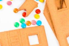 Detalles de la casa de pan de jengibre para hecho en casa Fotos de archivo libres de regalías