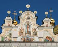 Detalles de la catedral del Dormition en Kyiv Pechersk Lavra fotografía de archivo