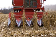 Detalles de la cosechadora del maíz Fotos de archivo