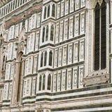 Detalles de la fachada de mármol adornada en Florence Cathedral Imagen de archivo libre de regalías