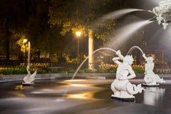 Detalles de la fuente de agua en la noche fotos de archivo
