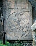 Detalles de la piedra sepulcral antigua Foto de archivo libre de regalías
