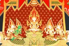 Detalles de la pintura tailandesa de la iglesia del estilo tradicional. Foto de archivo