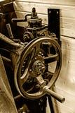 Detalles de la sepia de un viejo interior de la locomotora de vapor Fotografía de archivo libre de regalías