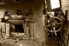 Detalles de la sepia de un viejo interior 1 de la locomotora de vapor Fotografía de archivo libre de regalías