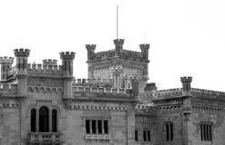 Detalles de la torre del castillo de Miramare Imagen de archivo libre de regalías
