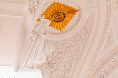Detalles de la vista interior del pasillo de Georgievsky en el palacio magnífico del Kremlin en Moscú Imagenes de archivo