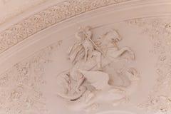 Detalles de la vista interior del pasillo de Georgievsky en el palacio magnífico del Kremlin en Moscú Fotos de archivo libres de regalías