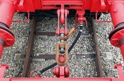 Detalles de los acopladores del tren Foto de archivo