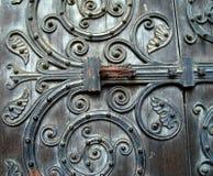 Detalles de madera de la puerta Fotografía de archivo
