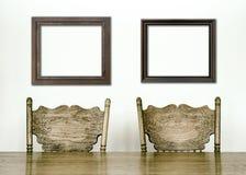 Detalles de madera de la tabla y de la silla del comedor foto de archivo