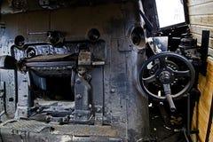 Detalles de un viejo interior de la locomotora de vapor Foto de archivo libre de regalías