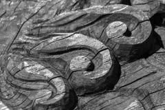 Detalles de una madera fina que tallan arte Imagenes de archivo